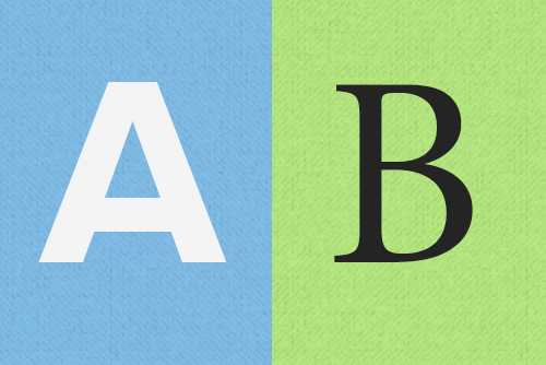 The letter A and the letter B represent the idea of two alternate versions of content.