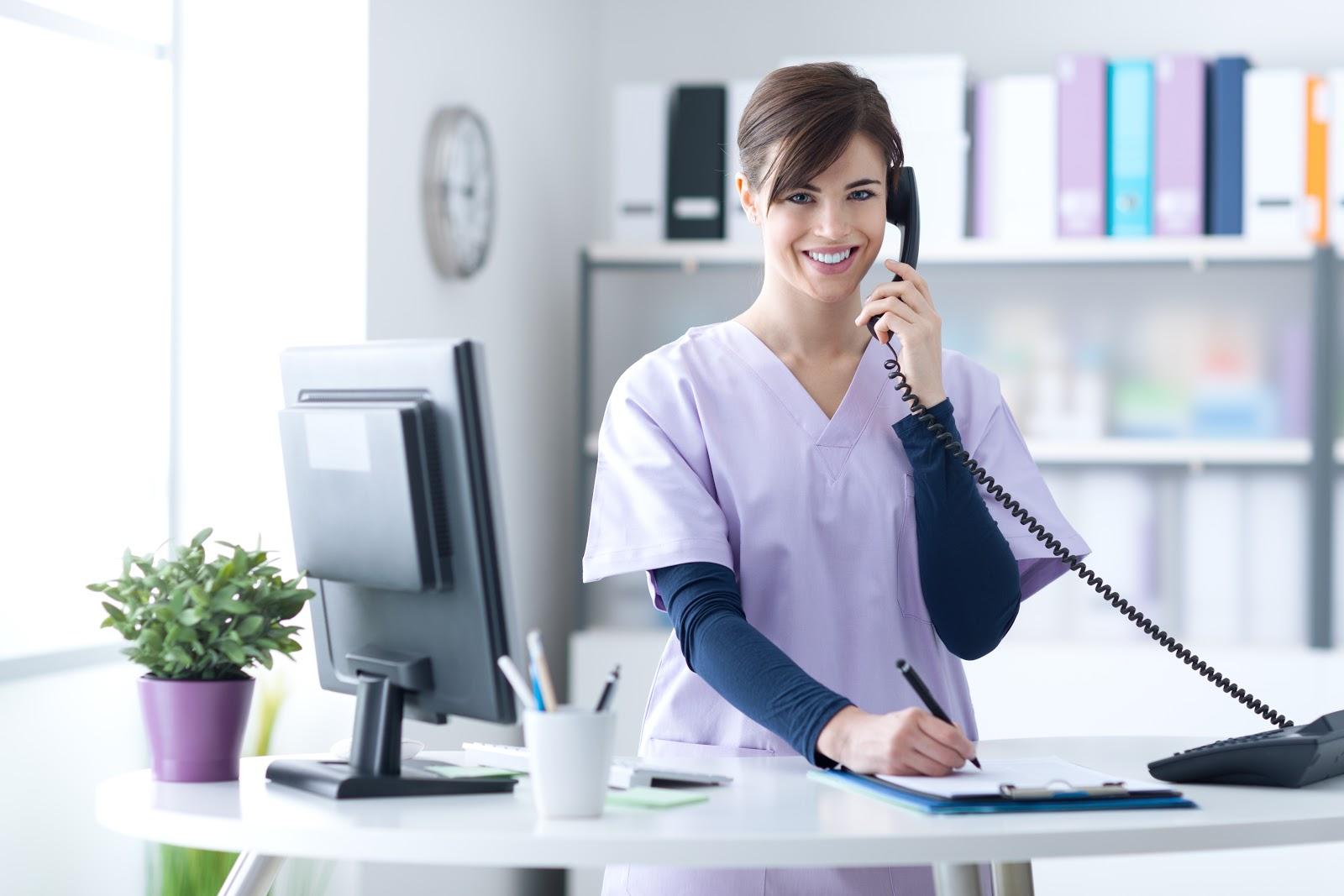 Receptionist smiling