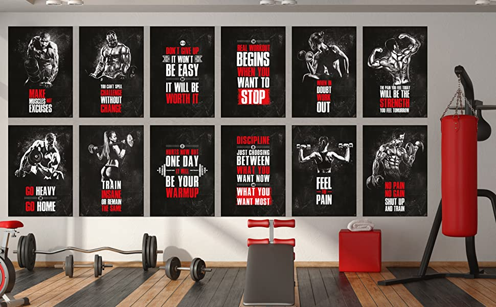Great Art Workout Poster Set are high-quality glossy paper that are available in 12 and 16 poster gym sets or bought individually.