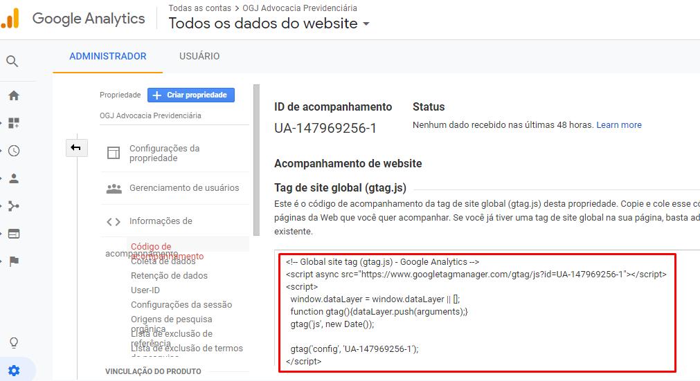 Configuração da Propriedade do Google Analytics