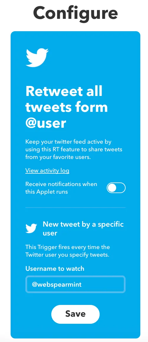 add the user you wish to follow- iftt-auto retweet tools - TweetJumbo.com- twitter automation bot tool