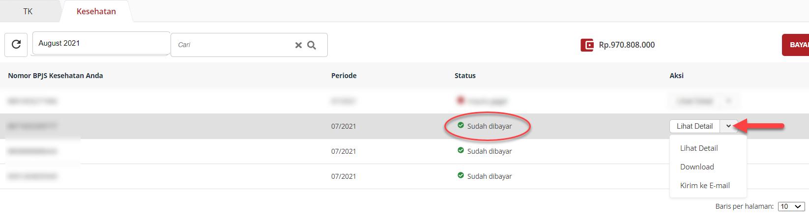 Tampilan status sudah dibayar, Klik Lihat detail untuk melihat detail pembayaran