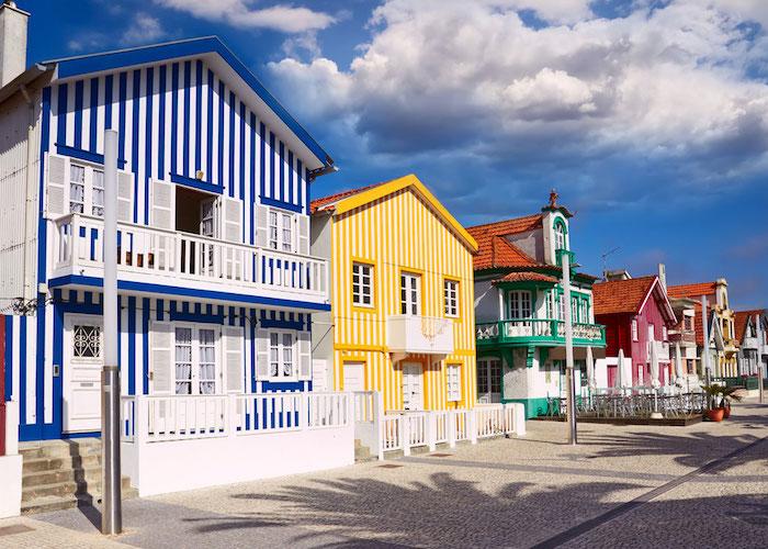 Driving to Aveiro Striped Houses at Praia da Costa
