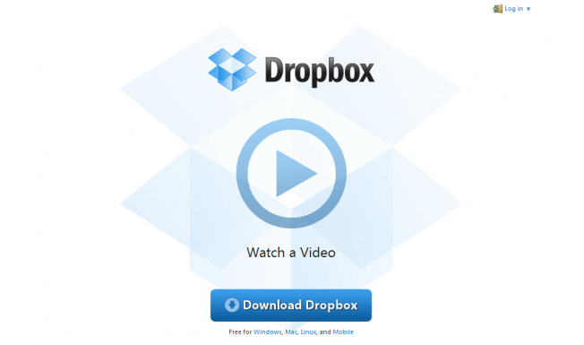 Dropbox has one single CTA