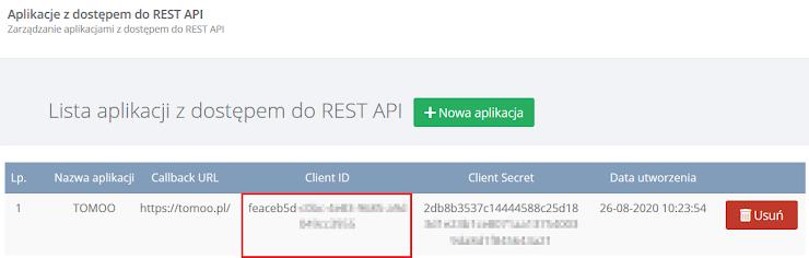 Prosimy wprowdzić wartosć pola Client ID wygenerowanego dla aplikacji w panelu BDO.