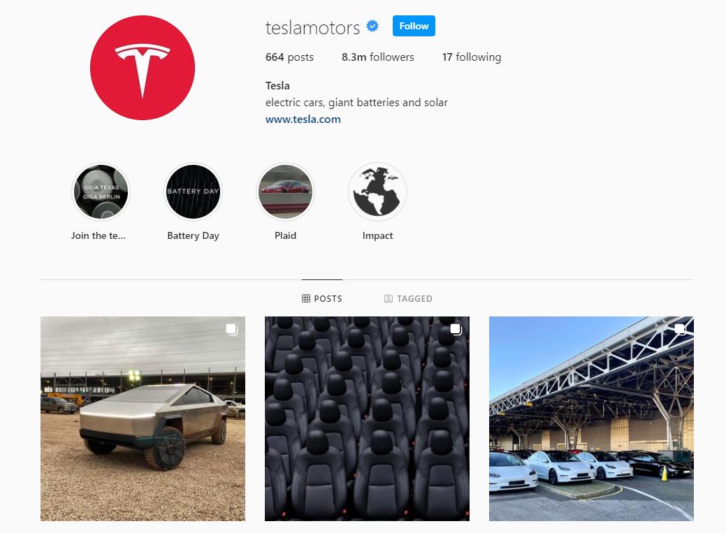 Tesla Instagram profile