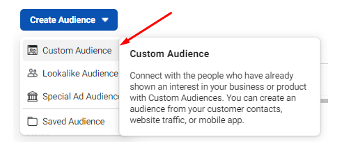 Custom audiences in Facebook Ads for targeting business owners.