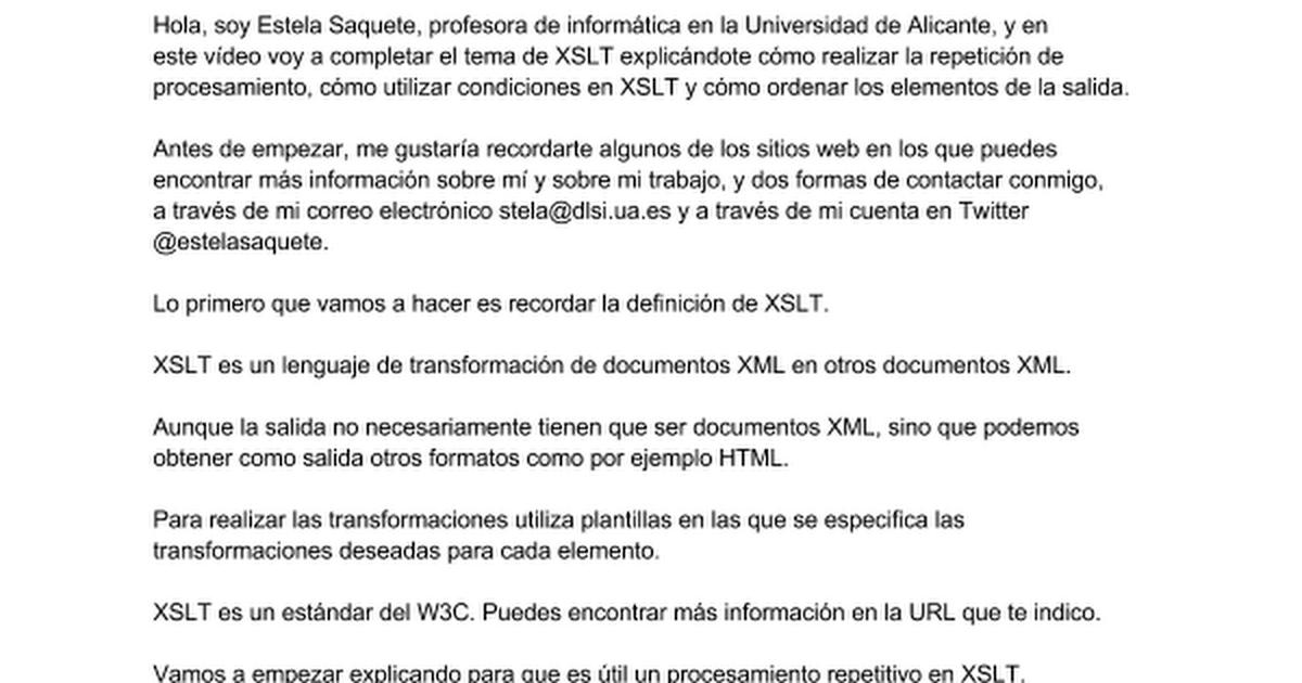 XSLT: Repetición, procesamiento condicional y ordenación - Google Docs