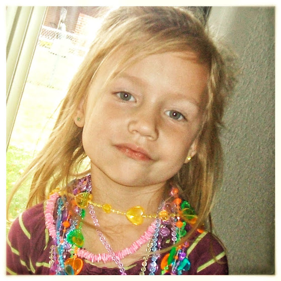 Pincess Charlotte has teh grandest jewelsry box to borrow jewlery from, bu twill she feel any more likea princess tahtn this little girl with her plastic beads adn imagination? asks No Non-cents Nanna.