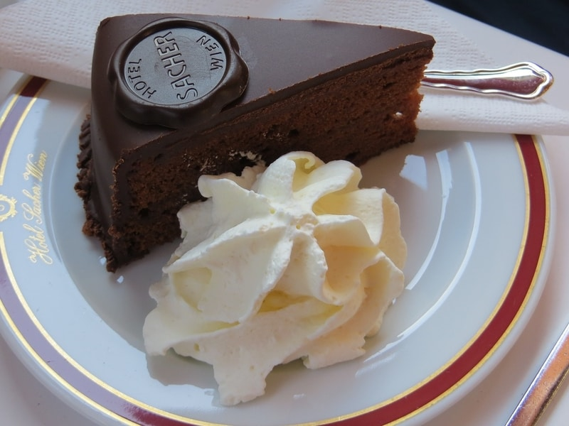 The famous and long storied Sacher Torte at Cafe Sacher Wein.