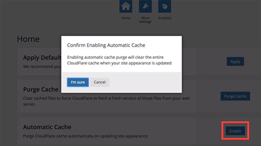 tela de confirmação da habilitação do cache automatico