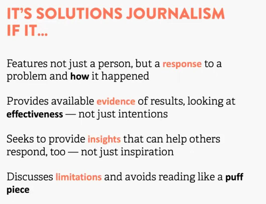 Solutions Journalism Network definition of Solutions Journalism