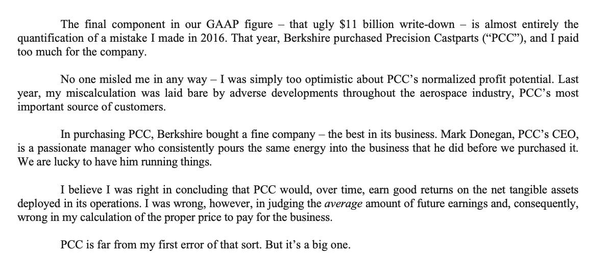 Warren Buffett letter to shareholders 2020 $11 billion mstake