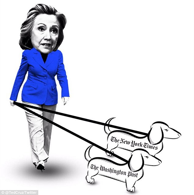 Billedresultat for trump and hillary on a leash