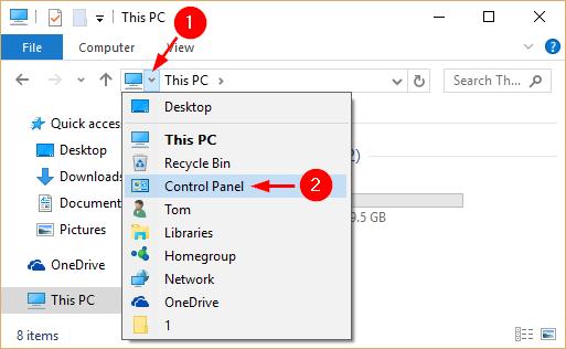 Click Drop-down Arrow in File Explorer