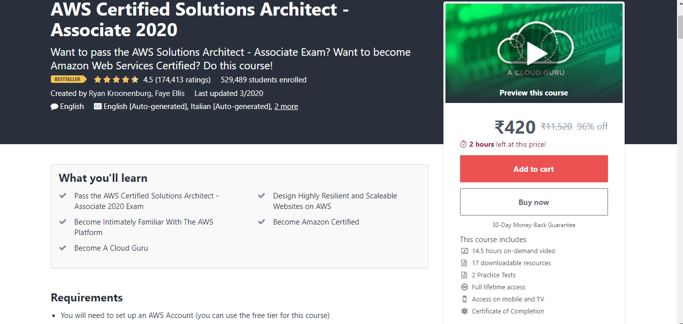 AWS Certified Solutions Architect - Associate 2020