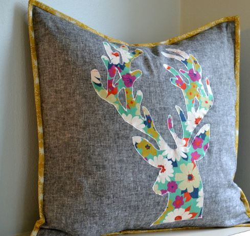 Quilted Pillow Featuring Floral-Patternd Deer