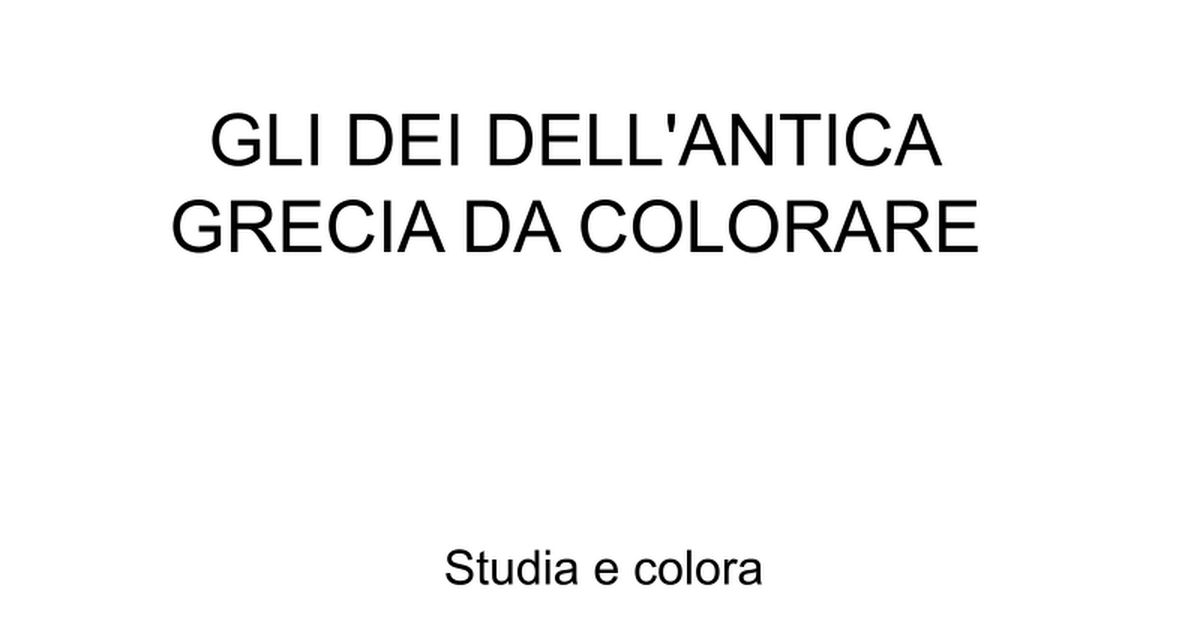Gli Dei Dell Antica Grecia Da Colorare Google Slides