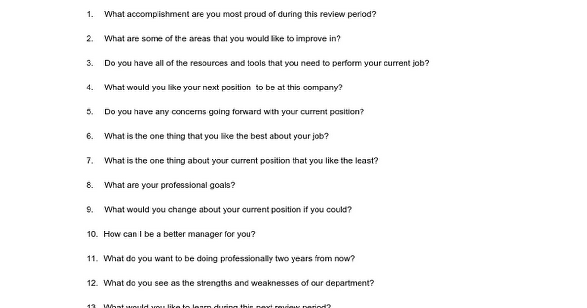 employee performance review questions google docs - Do You Like Your Job What Do You Like About Your Job Or Least Like