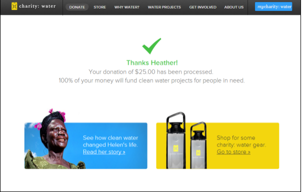 Charity Water donation confirmation for Heather 25 USD.