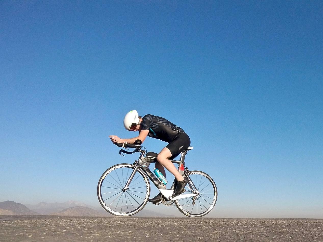 Cyclist training for a race.