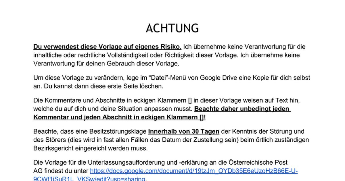 Vorlage Unterlassungsaufforderung und -erklärung Mediengruppe ...