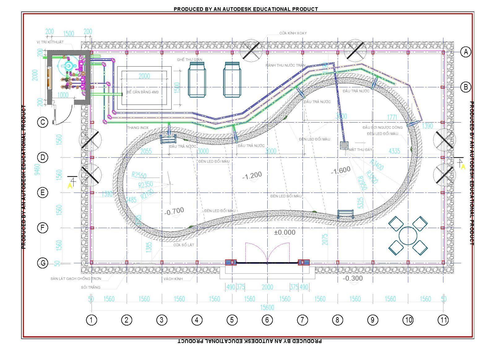 Bản vẽ thiết kế bể bơi gia đình