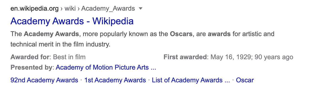 Example of snippet for search term Academy Awards