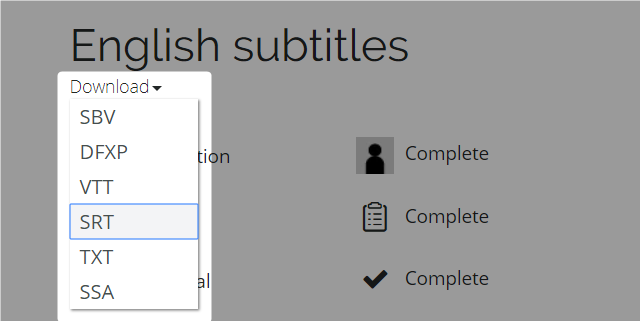 Download subtitle format dropdown menu highlighted on subtitle page for completed english subtitles