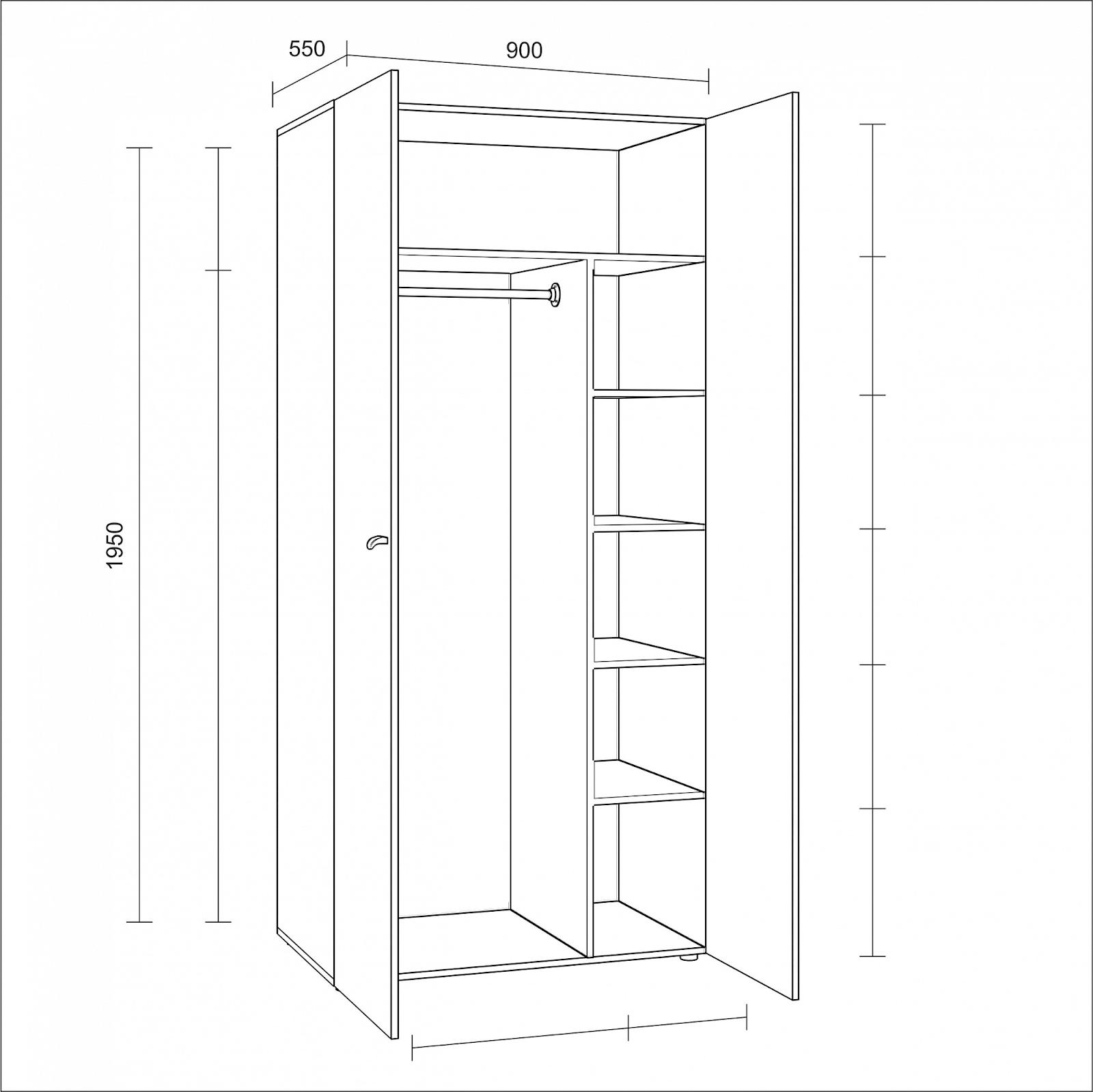 Распашной платяной шкаф с дверками