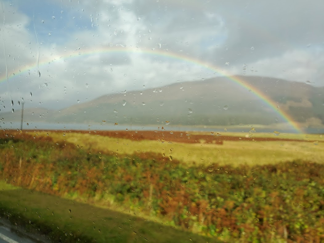 A rainbow on the landscape of the Scottish Highlands.
