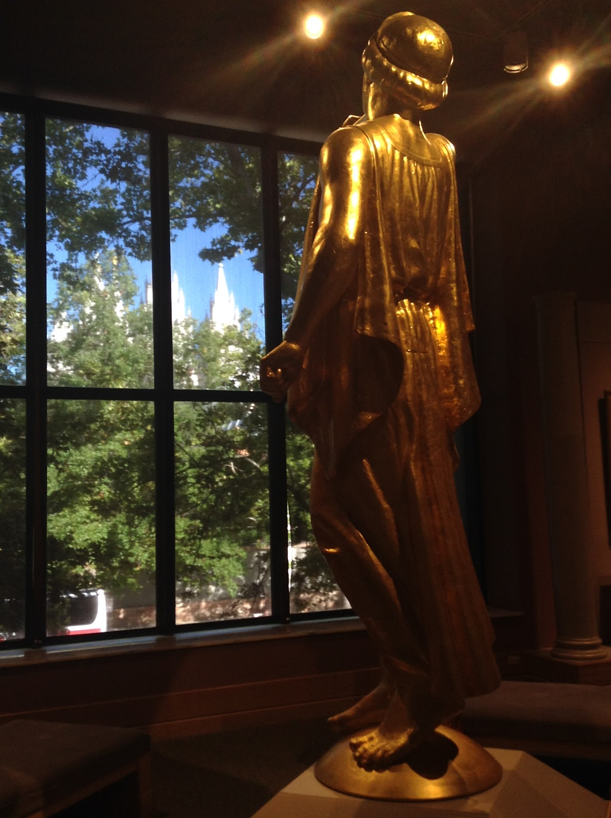 Angel Moroni faces Salt Lake Temple from Church History Museum