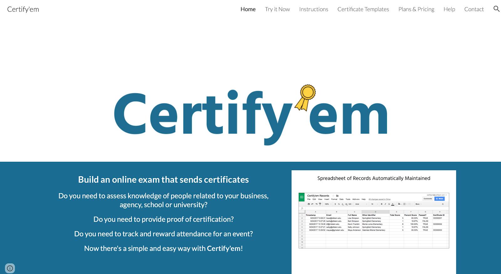 Certifyem screen
