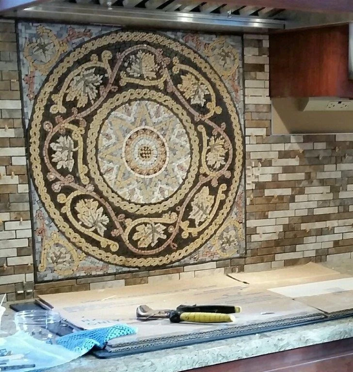 Hadi - Geometric Botanical Mosaic by Mozaico