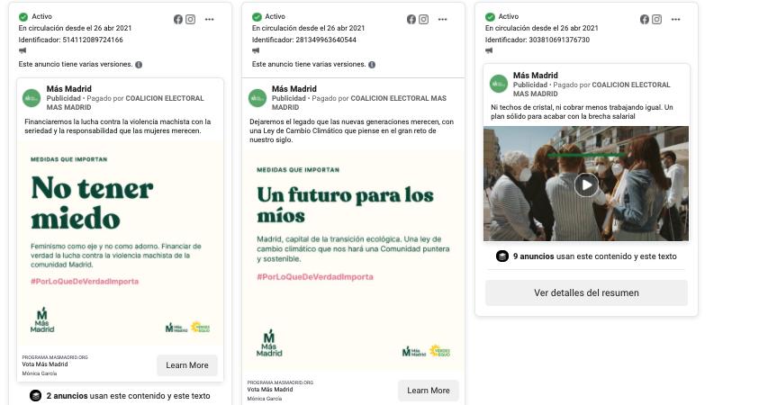 publicidad en redes Más Madrid