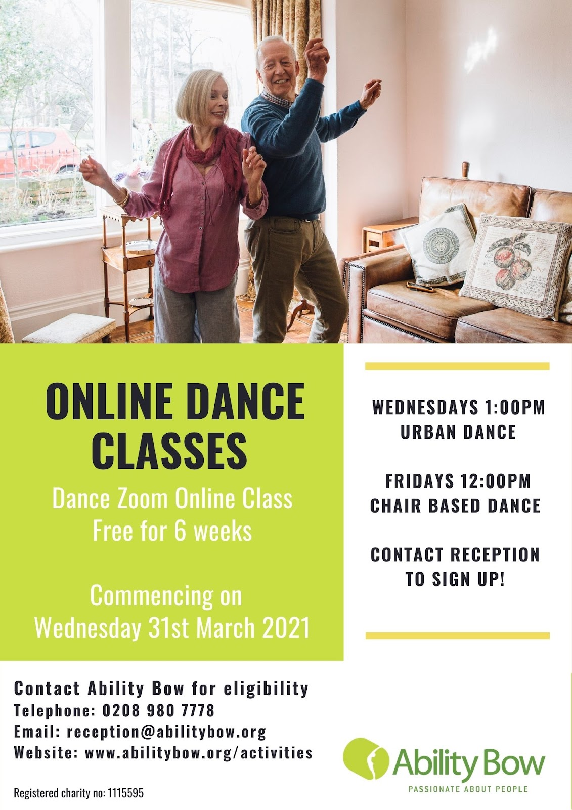 flyer for online dance classes Fridays 12pm chair based and Wednesdays 1pm standing - Dance Classes online