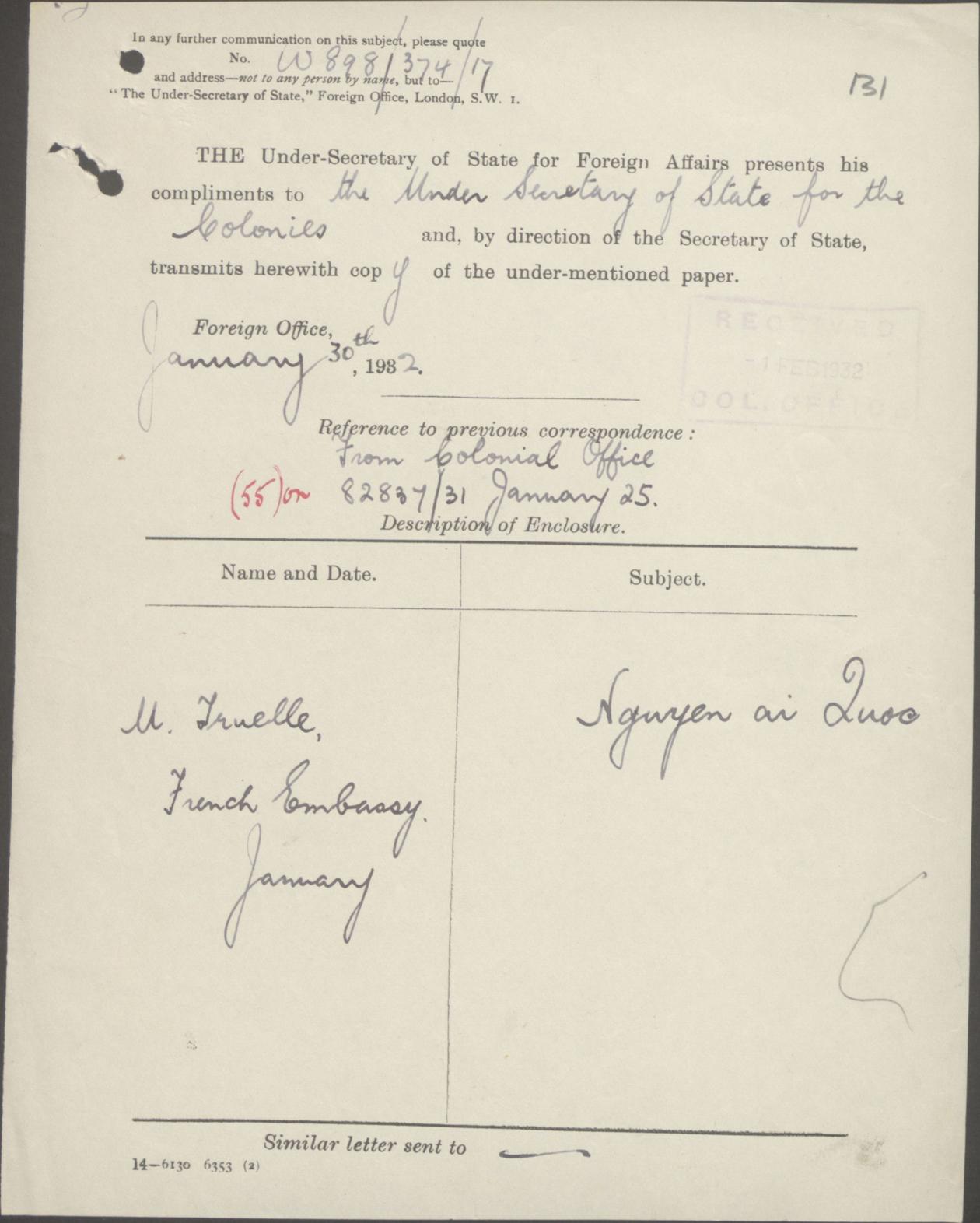Thư của Bộ Ngoại-giao gởi Bộ Thuộc-địa 30-01-1932.jpg