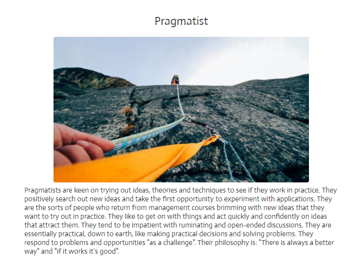 Pragmatist result for learning style quiz