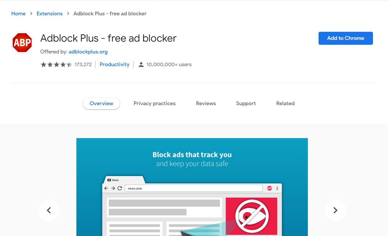 Adblock Plus in Chrome store - Best Free Ad Blocker Software