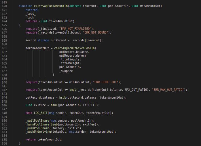 Balancer Codeblock: exitSwapPoolAmountIn function