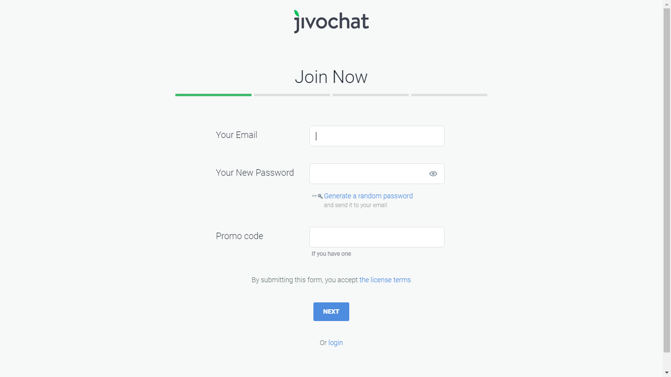 Sign up on JivoChat.com