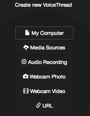List of sources that can be used to add media to a VoiceThread: My Computer, Media Sources, Audio Recording, Webcam Photo, Webcam Video, and URL