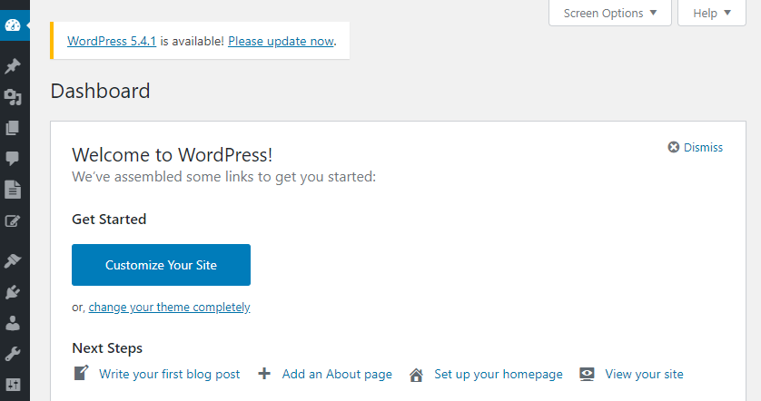 An example of the WordPress dashboard.