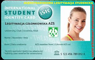 Legitymacja członkowska Akademickiego Związku Sportowego ISIC-AZS to karta potwierdzająca członkostwo w Akademickim Związku Sportowym, a jednocześnie możliwość korzystania ze wszystkich profitów wynikających z posiadania legitymacji ISIC.
