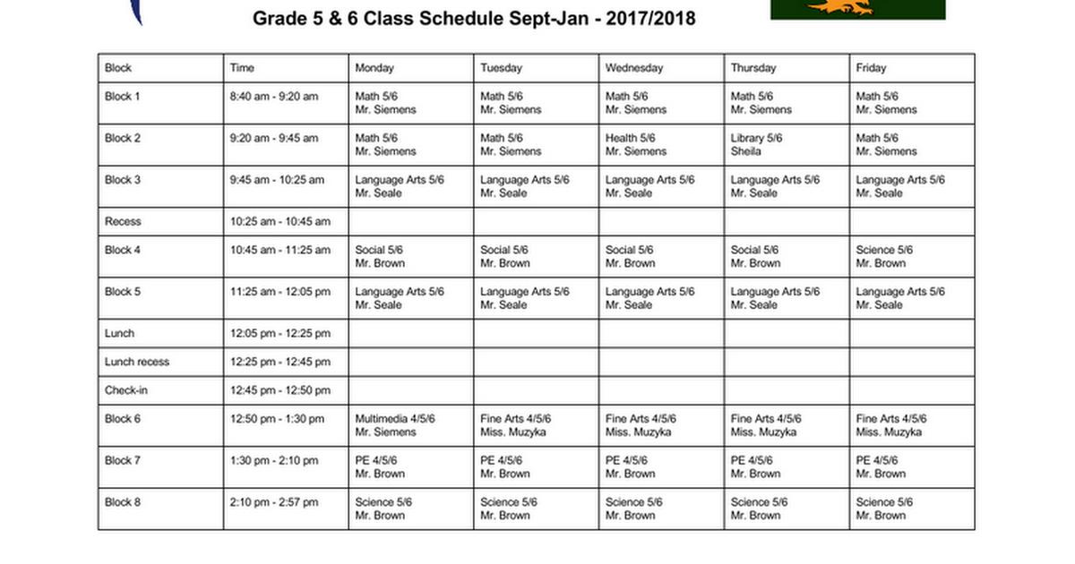 Thumbnail for Grade 5 & 6 Class Schedule 2017 2018