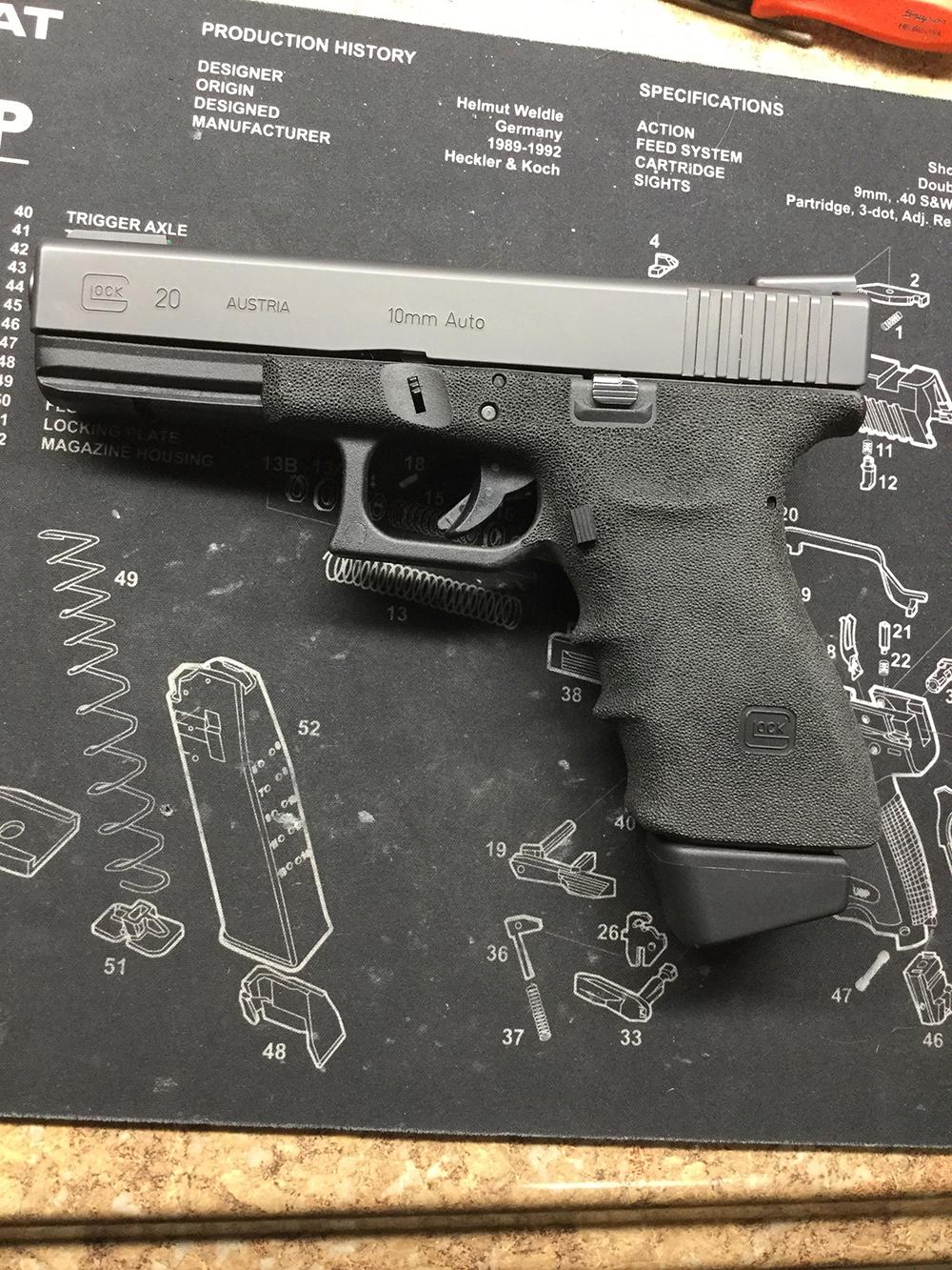 glock 20 finger grooves custom stippling