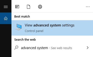 Mencari menu advanced system settings di search Windows