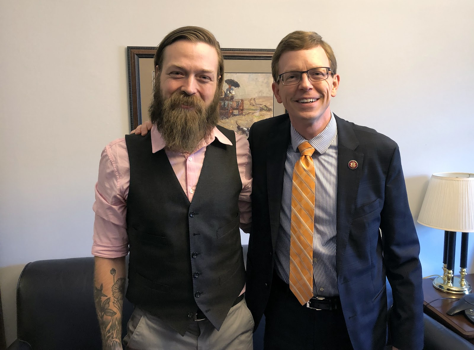 NSAC member Matt West from Dakota Rural Action with Representative Dusty Johnson (R-SD)
