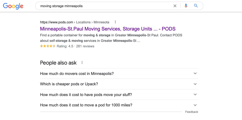 Screenshot of moving storage Minneapolis google search