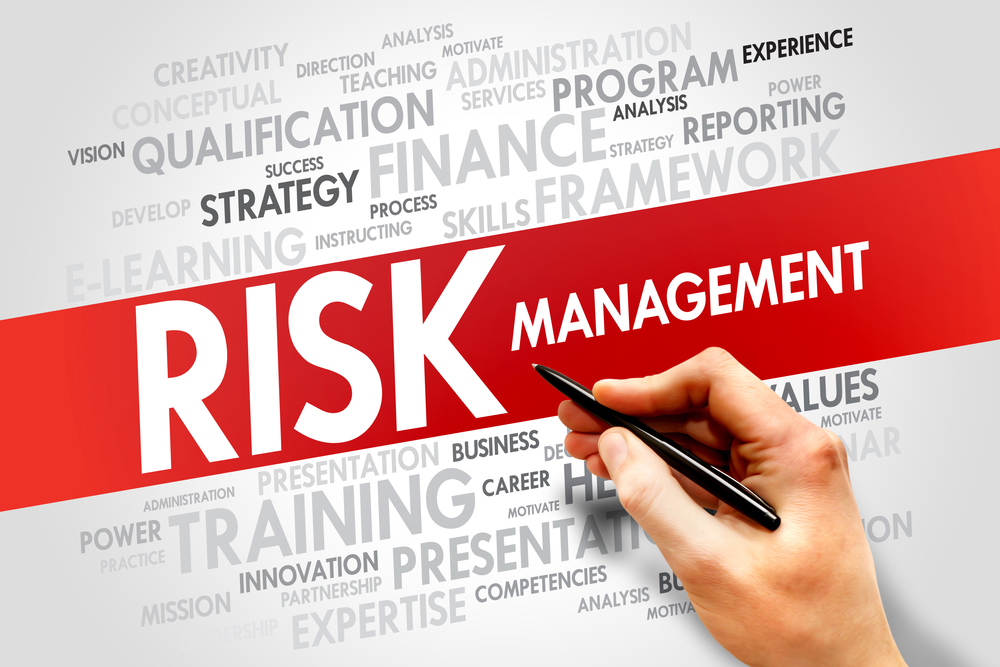 Risk management concept, word cloud of related concept words.